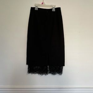 Black Pencil Skirt with lace trim